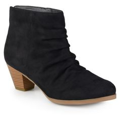 Women's Journee Collection Womens Slouch Faux Suede Ankle Boots ($59) ❤ liked on Polyvore featuring shoes, boots, ankle booties, black, black ankle booties, bootie boots, faux suede booties, black boots and black ankle bootie
