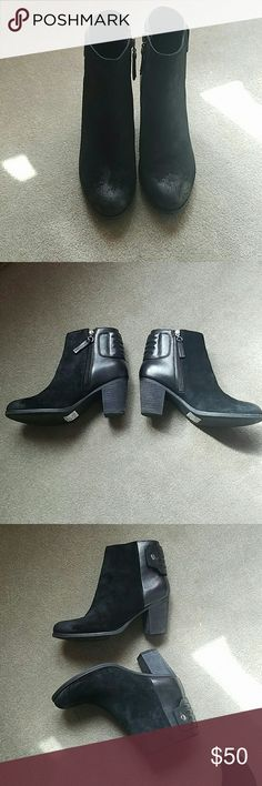 Amazing Clark's booties Black booties with slight difference in color on the toes for a worn in look. Worn once. Clarks Shoes Ankle Boots & Booties