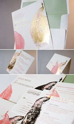 Roaring Twenties inspired gold foil wedding invitations by Bella Figura #Peacock