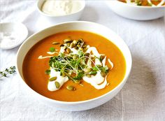 My recipe and images of Creamy Coconut Pumpkin Soup | Rue Magazine (vegan, gluten-free)  Perfect Thanksgiving recipe.