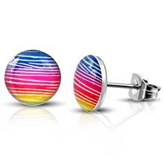 Vrolijke kleurige ;oorbellen edelstaal....stalen oorbellen met ;aan de voorzijde een kunststof bolletje met een kleurig patroon, ;de oorknopjes hebben een afmeting van 10 bij ;10 mm. Zilverkleurig oorknopjes.Stalen oorknopjes geven niet af op de huidOorbellen zijn produkt en zeewater bestendig