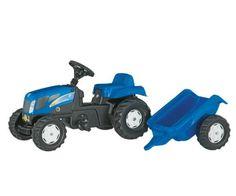 Modelos P (2 a 5 años) >Tractor de pedales NEW HOLLAND TVT 190 con remolque  #momamini #juguetes #niños #tractor #tractorpedales #tractornewholland