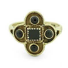 Black onyx 14 carat gold ring by DriftyTreasures on Etsy