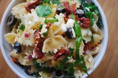 Bow-tie Pasta Salad with sun-dried tomatoes, black olives, feta and spinach Bow-tie Pasta Salad with sun-dried tomatoes, black olives, feta and spinach Recipe by Emily_Wilson - The Daily Meal Tomato Pasta Salad, Sundried Tomato Pasta, Pasta Salad Recipes, Spinach Recipes, Bow Pasta Salad, Bow Tie Pasta, Sundried Tomato Recipes, Pasta Salad With Spinach, Basil Pasta