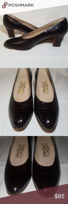 """🌻 Salvatore Ferragamo Croc Embossed leather pumps Classic designer beauties! Rich coffee brown color, almost a tortoise shell. Leather soles, insoles, and uppers. Last picture shpws similar shoe. Very little signs of wear. 2 1/2 """" heel. A bit over 3 """" width ball of foot. These are size  8 AA. Gorgeous shoes! Made in Italy. Ferragamo Shoes Heels"""