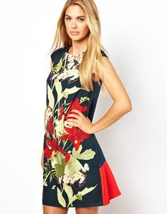 Ted Baker Shift Dress with an Oriental Flower Placement Print