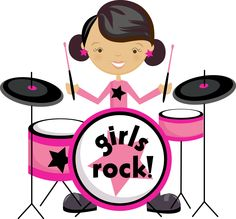 Music Clipart, Cute Clipart, Rockstar Party, Girl Drummer, Music Rock, Music Teacher Gifts, School Of Rock, Instruments, Music Party