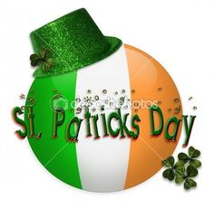 Illustration composition of Irish Flag smiley face for St Patricks day card, invitation, clip art, button, icon with 3D text