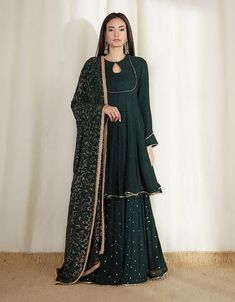 Check out our Bottle Green Mukeish Lehenga by DABKA DORI available at Ogaan Online store at special price. Pakistani Fashion Party Wear, Pakistani Dresses Casual, Indian Gowns Dresses, Pakistani Dress Design, Sharara Designs, Kurti Designs Party Wear, Lehenga Designs, Designer Party Wear Dresses, Indian Designer Outfits