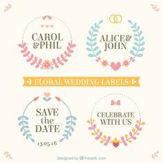 Étiquettes de mariage floral Vecteur gratuit