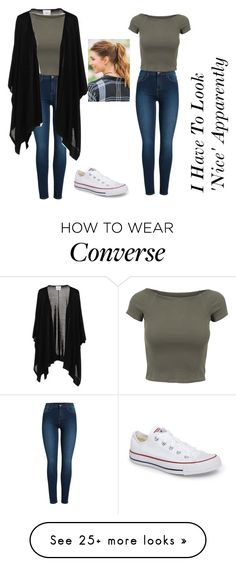 """I Have To Look 'Nice' Apparently"" by nerdychicka-jesus on Polyvore featuring Pieces, jucca, Converse and Francesca's"