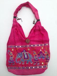 Skøn indisk taske/gymnastikpose i flotte farver med elefanter. Helt ny. Hjembragt fra Indien.