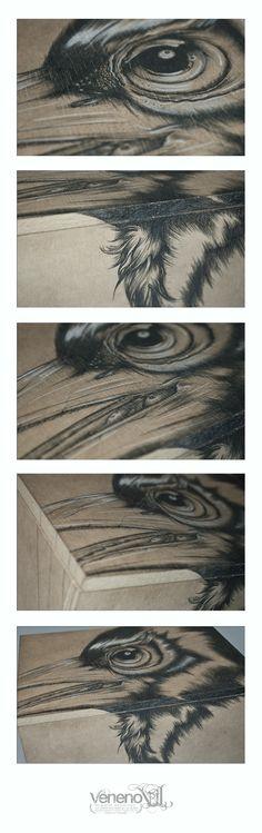 Wood Bird  /  Illustration pencil on wood.