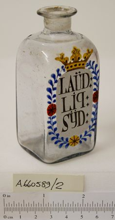 19th-century dispensing bottle for Sydenham's Laudanum. The drug laudanum was made famous by the English physician John Sydenham in 1660, whose liquid laudanum (opium combined with sherry) instantly became popular as a cure-all for pain and other complaints.