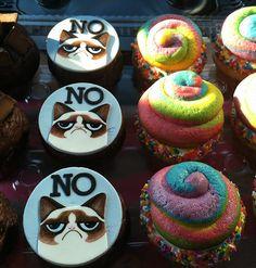 Grumpy Cat And Unicorn Poop Cupcakes