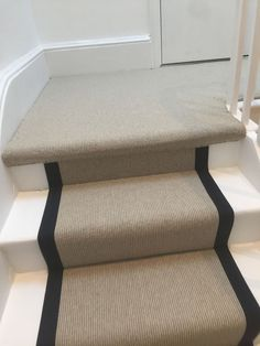 Stair Runner Carpet Installation In Docklands - stair carpet with black binding #stairs #staircase #stairrunner #carpet #carpetrunner #interiordesign