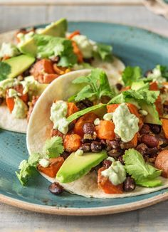 "Vegetarian sweet potato and black bean tacos | Try HelloFresh today with code ""HelloPinterest"" and receive $25 off your first  box."
