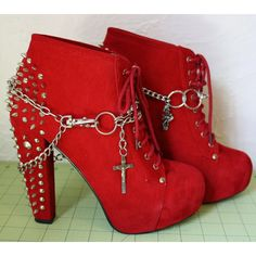 Spiked Red Boots Booties Boot with DIY Boot Chains Deathrock Goth Dark... ($60) ❤ liked on Polyvore featuring shoes, boots, ankle booties, heels, sapatos, high heel booties, lace up boots, red booties, lace up heel boots and red lace up booties