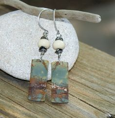 Teal Blue Red Creek Jasper Earrings  Lampwork  by YaYJewelry, $28.00
