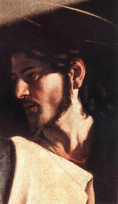 Christ detail - The Calling of St. Matthew - 1599-02 Caravaggio (Christ comes in from the right with a majestic gesture, his head in profile and his face in darkness.) text from http://www.wga.hu/html_m/c/caravagg/04/