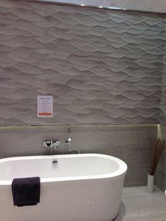 Bathroom Tiles Porcelanosa wall tiles: wave grey metalic 33,3 x 100 cm. the shine of metal