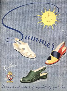 Holmes shoes in Picture Post May 1947 sandals wedge open toe sling back green white red black yellow color block late 40s era vintage fashions style