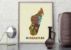 Madagascar Map Art Print Wall Decor, Madagascar Poster African Art Print, Antananarivo Southeast Coast of Africa, Map Poster AVAILABLE @$15