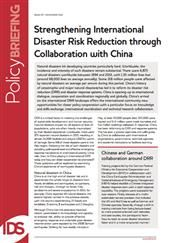 Strengthening international disaster risk reduction through collaboration with China