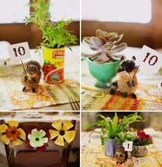 """woodland creatures + """"flowers"""" made from recycled soda bottles and spray paint"""