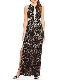 Aidan Aidan Mattox Halter Illusion Lace Sleeveless Gown #Dillards
