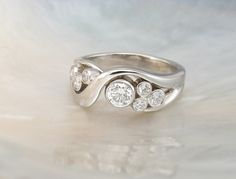 bezel set bubble diamond ring in 14k white gold -- artisan handmade engagement ring