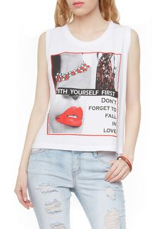 Rainbow Shops Graphic Tank Top with Fall In Love Print With Yourself First Print $5.99