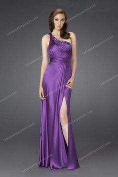 Purple La Femme 15158 Satin One Shouler Homcoming Dresses