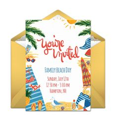 We love this beach-inspired free online invitation for summer birthday parties! Lovely hand-illustrated design. #handmade