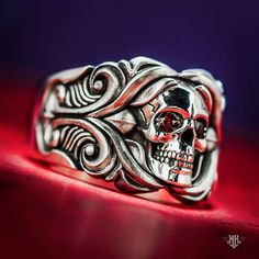 Rose From The Dead Ring with Red Garnets - NightRider Jewelry