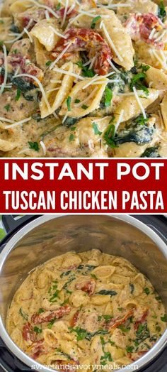 Instant Pot Tuscan Chicken Pasta is very easy to make, creamy and delicious with perfect juicy chicken, sun dried tomatoes and spinach. instant pot recipes Instant Pot Tuscan Chicken Pasta [VIDEO] - Sweet and Savory Meals Instant Pot Pressure Cooker, Pressure Cooker Recipes, Pressure Cooking, Pressure Cooker Chicken, Tuscan Chicken Pasta, Ip Chicken, Creamy Chicken Pasta, Chicken Noodles, Healthy Chicken Pasta