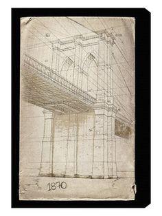 Brooklyn bridge blueprint vintage rustic new york brooklyn bridge brooklyn bridge 1870 by hatcher and ethan canvas malvernweather Images
