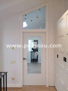 Fusteria ebenisteria Puignou: Fusteria Puignou-Porta vidriera lacada blanca amb ... Mirror, Stained Glass Windows, Puertas, Mirrors, Tile Mirror