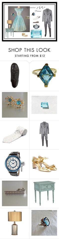 """Aquamarine Dream"" by anna-ragland ❤ liked on Polyvore featuring Marsèll, Versace, Corneliani, Invicta, Dolce&Gabbana, Magnolia Home, Lindsey Adelman and vintage"