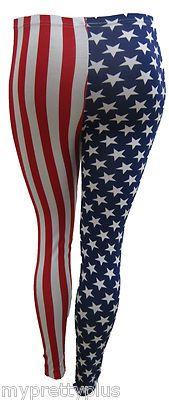 New Ladies American Flag Print Plus Size Long Leggings 12 26 | eBay