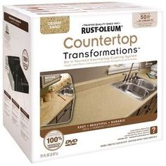 EASY DIY solution for redoing the kitchen countertops! --Rustoleum has made it easy to transform the look of your kitchen countertops using their Countertop Transformations Kit. It's easy to apply and cheap to boot! Rustoleum Countertop Transformations, Countertop Refinishing Kit, Resurface Countertops, Countertop Kit, Painting Countertops, Countertop Makeover, Cabinet Transformations, Bathroom Countertops, Giani Granite