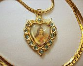 Vintage St. Therese Liseux Blue Rhinestone Heart Pendant Necklace Gold Tone with Chain / Religious - Catholic Little Flower
