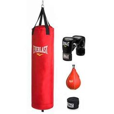 Sports Outdoors Exercise Fitness Boxing Boxing BagsThe Everlast 70 lb Red PolyCanvas Boxing Heavy Bag Kit includes virtually everything you need to experience an intense workout or begin a training regimen. The heavy bag is made of durable PolyCanvas that can stand up to repeated punches. The kit also comes with gloves and wraps to protect your wrists and hands. The Everlast 70 lb Heavy Bag Kit also includes a speed bag for rapid-fire punches. The chain holding the heavy bag is adjustable to…