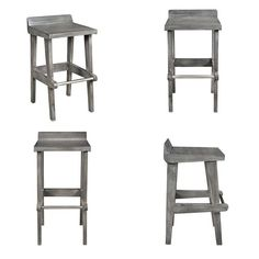Naturally accentuating the beauty of a dining space while seamlessly integrating with its decor, these counter stools are sure to leave an impression. Made out of a solid mango wood and finished in a rustic grey, their fine grain details are further compl Kitchen Stools, Counter Stools, Rustic Modern, Dining, Grey, Wood, Furniture, Home Decor, Gray