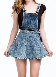 Acid Wash Dual Way Detachable Denim Jean Skater Skirt Overalls Skirtalls 10971 #StyleCreek #SML