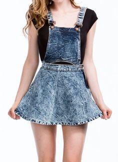 Acid Wash Dual Way Detachable Denim Jean Skater Skirt Overalls Skirtalls 10971 #StyleCreek #SML
