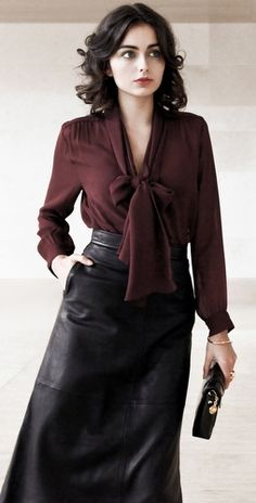 amazing fall outfit - Raoul Tie Neck Blouse and Leather Midi Skirt