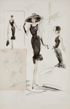 """Costume illustration for """"Holly Golighty"""" (Audrey Hepburn) from 'Breakfast at Tiffany's' Design by Hebert du Givenchy and Edith Head. Fashion Illustration Vintage, Illustration Sketches, Fashion Illustrations, Vintage Fashion Sketches, Sketch Fashion, Givenchy Couture, Audrey Hepburn Breakfast At Tiffanys, George Peppard, Breakfast At Tiffanys"""