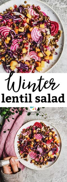 Beautiful to look at and delicious to eat, this healthy winter salad with lentils is everything you need to feel good. Vegan, gluten free and filled with plant-based protein and fiber! Make it as a holiday side for Christmas or as a salad for a wholesome Valentine's Day dinner! This will impress anyone. | #vegan #glutenfree #healthy #wellness #cleaneating