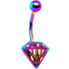Multicolored Diamond Shaped Bellybutton Ring